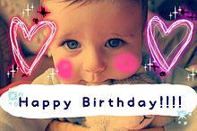 Happy Birthday 外国人 子供 赤ちゃん 誕生日の画像(プリ画像)