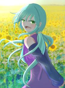 向日葵のような笑顔の先には? プリ画像