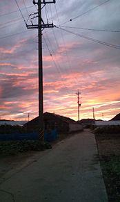 田舎道+夕焼け空 2010,9/23の画像(プリ画像)