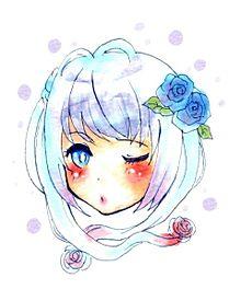 青い薔薇の女の子の画像(プリ画像)