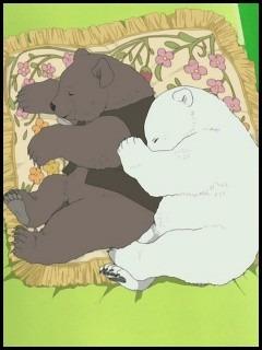 しろくまカフェのシロクマとグリズリーさんが寝る壁紙