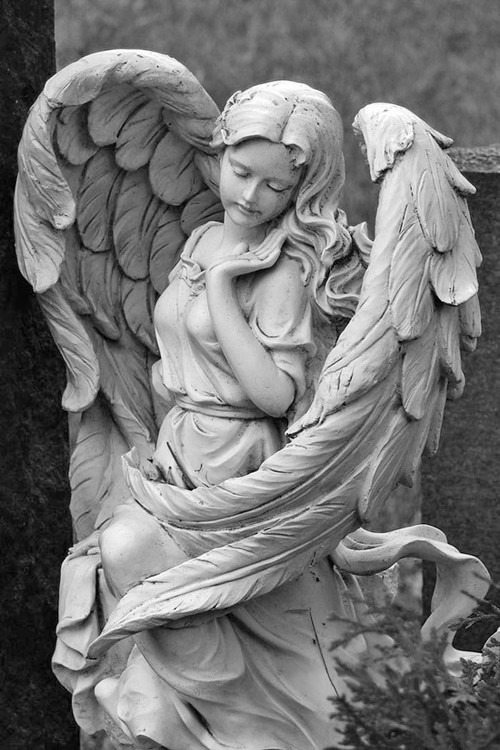 優美な羽の天使像のモノクロ・白黒写真の壁紙
