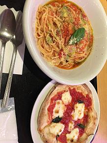 コパン マルゲリータ ハーフピザ バジル トマトソース パスタの画像(#ジルに関連した画像)