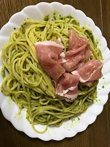 ジェノベーゼのパスタ 生ハム 麺類の画像(生ハムに関連した画像)