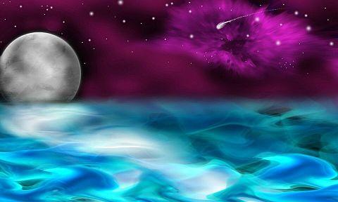 #幻想的#ファンタジー#空#満月#海#素材#壁紙の画像(プリ画像)