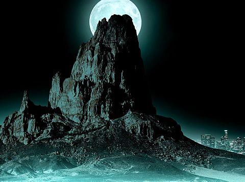 #幻想的#風景#神秘的#山岳#満月#素材#壁紙の画像(プリ画像)