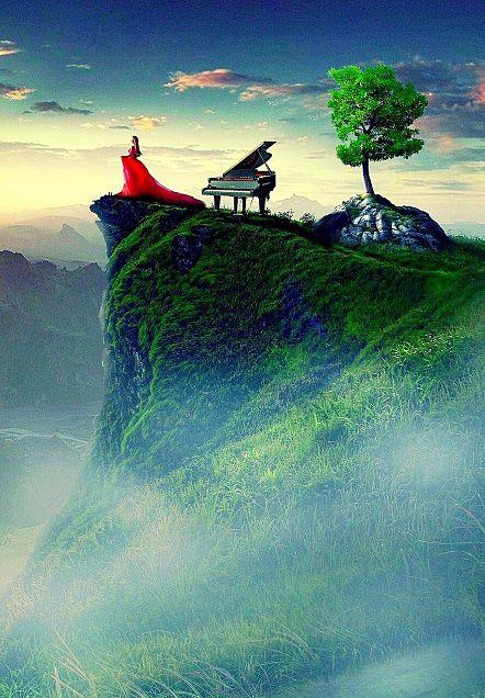 #幻想ファンタジー#ピアノ#断崖絶壁の画像(プリ画像)