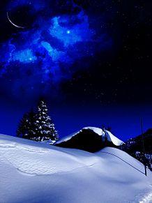#幻想的#冬景色#雪景色#もみの木の画像(三日月に関連した画像)