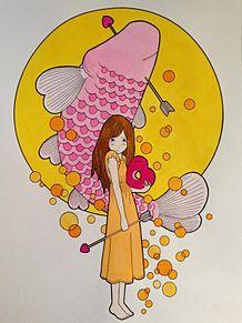 徳田有希 鯉と女の子の画像(プリ画像)