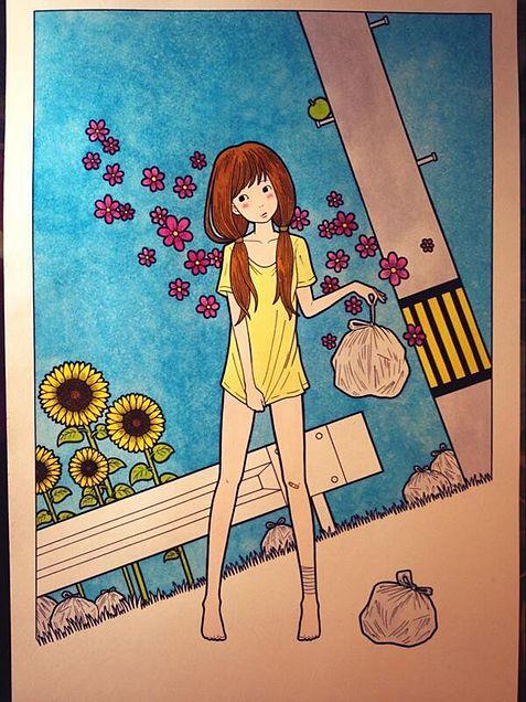 徳田有希 ゴミ袋と女の子の画像 プリ画像